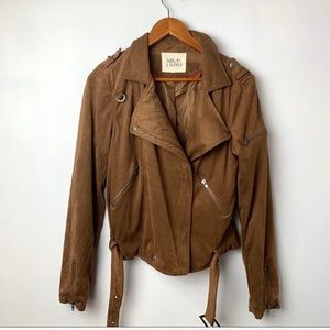 Thread & Supply brown faux suede moto jacket